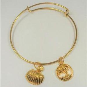 Jewelry - NAUTICAL GOLD TONE PALM TREE SEA SHELL BRACELET